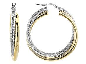 Pre-Owned Moda Al Massimo™ 18K Two-Tone Over Bronze Diamond-Cut Polished 35MM Entwined Earrings