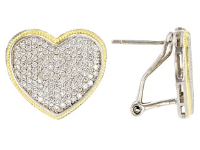 Pre-Owned White Cubic Zirconia Rhodium And 14K Yellow Gold Over Sterling Silver Heart Earrings 0.73c