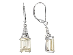 Pre-Owned Yellow labradorite sterling silver earrings 3.94ctw