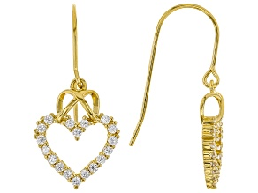 Pre-Owned White Cubic Zirconia 18K Yellow Gold Over Sterling Silver Heart Earrings 0.97ctw