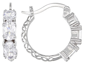 Pre-Owned White Cubic Zirconia Rhodium Over Sterling Silver Hoop Earrings 3.11ctw