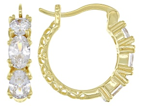 Pre-Owned White Cubic Zirconia 18k Yellow Gold Over Sterling Silver Hoop Earrings 3.11ctw