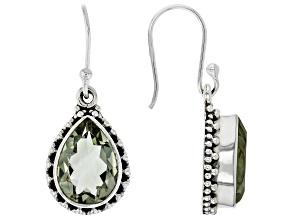 Pre-Owned Green Prasiolite Rhodium Over Sterling Silver Earrings 7.50ctw