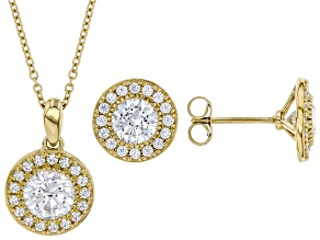Pre-Owned White Cubic Zirconia 18k Yellow Gold Over Sterling Silver Pendant And Earrings Set 4.23ctw