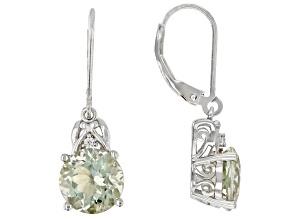 Pre-Owned Green Prasiolite Rhodium Over Sterling Silver Earrings 4.96ctw