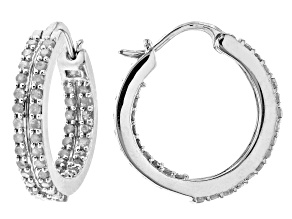 Pre-Owned White Diamond Rhodium Over Sterling Silver Inside-Out Hoop Earrings 1.00ctw