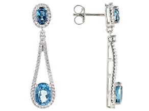 Pre-Owned London Blue Topaz Rhodium Over Sterling Silver Earrings 5.60ctw