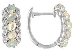 Pre-Owned Multicolor Ethiopian Opal Rhodium Over Silver Hoop Earrings 1.53ctw