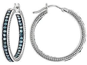 Pre-Owned Blue Diamond Rhodium Over Sterling Silver Hoop Earrings 1.10ctw