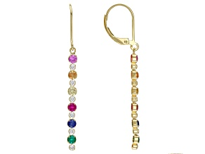Pre-Owned Green Lab Created Emerald 18k Yellow Gold Over Sterling Silver Earrings. 1.40ctw