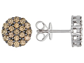 Pre-Owned Champagne Diamond Rhodium Over Sterling Silver Cluster Stud Earrings 1.00ctw