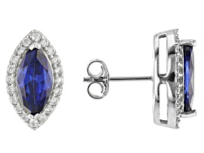 Pre-Owned Blue And White Cubic Zirconia Rhodium Over Silver Earrings 4.02ctw