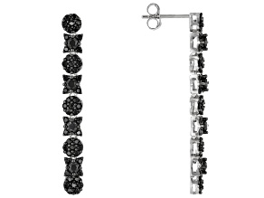 Pre-Owned Black Spinel Rhodium Over Silver Earrings 1.83ctw