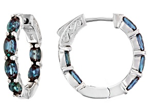 Pre-Owned Blue lab created alexandrite rhodium over silver inside/outside hoop earrings 2.44ctw