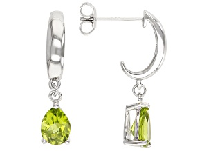 Pre-Owned Green Peridot Rhodium Over Sterling Silver Dangle Earrings 2.04ctw