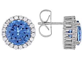 Pre-Owned Lab Spinel And White Cubic Zirconia Rhodium Over Sterling Silver Earrings 5.27ctw