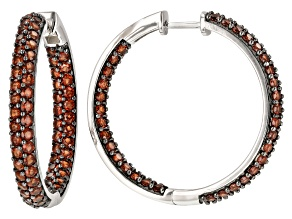 Pre-Owned Garnet Rhodium Over Sterling Silver Inside/Out Hoop Earrings 6.00ctw
