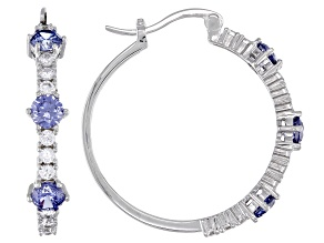 Pre-Owned Blue And White Cubic Zirconia Rhodium Over Sterling Silver Hoop Earrings 3.60ctw