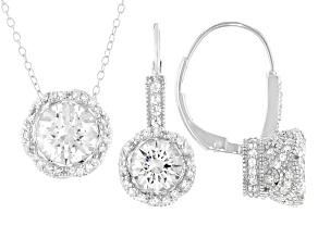 Pre-Owned White Cubic Zirconia Rhodium Over Sterling Silver Earrings And Pendant With Chain 5.00ctw
