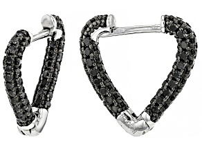 Pre-Owned Black Spinel Rhodium Over Sterling Silver Earrings. 0.85ctw.