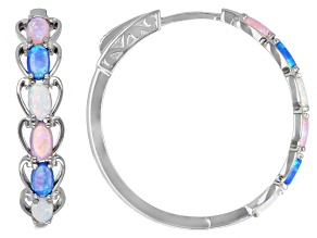 Pre-Owned Blue, White & Pink Lab Created Opal Rhodium Over Sterling Silver Hoop Earrings 1.23ctw