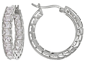 Pre-Owned White Cubic Zirconia Rhodium Over Sterling Silver Inside Out Hoop Earrings 10.80ctw