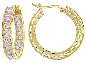 Pre-Owned White Cubic Zirconia 18k Yellow Gold Over Sterling Silver Inside Out Hoop Earrings 10.80ct