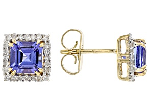 Pre-Owned Blue Tanzanite With White Diamond 14k Yellow Gold Stud Earrings 2.28ctw