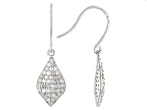 Pre-Owned White Diamond Rhodium Over Sterling Silver Dangle Earrings 0.88ctw