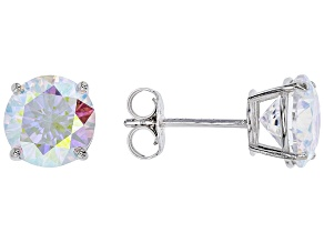 Pre-Owned Aurora Borealis Cubic Zirconia Rhodium Over Sterling Silver Earrings 4.80ctw