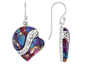 Pre-Owned Blended Purple Spiny Oyster Shell & Turquoise Rhodium Over Silver Heart Earrings