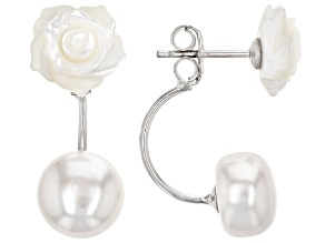 Pre-Owned 8-9mm White Cultured Freshwater Pearl & 10mm White Mother-Of-Pearl Rhodium Over Silver Ear