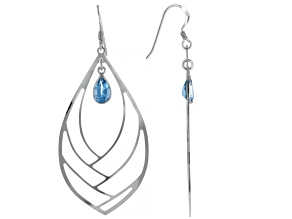 Pre-Owned Swiss Blue Topaz Rhodium Over Silver Dangle Earrings 1.80ctw