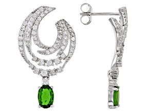Pre-Owned Green Chrome Diopside Rhodium Over Sterling Silver Earrings. 2.15ctw