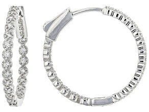 Pre-Owned White Cubic Zirconia Rhodium Over Sterling Silver Inside Out Hoop Earrings 0.97ctw