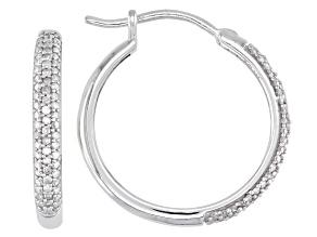 Pre-Owned White Diamond Rhodium Over Sterling Silver Hoop Earrings 0.40ctw