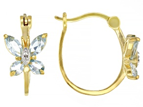 Pre-Owned Sky Blue Topaz and Diamond Accent 18K Yellow Gold Over Sterling Silver Earrings. 1.43ctw