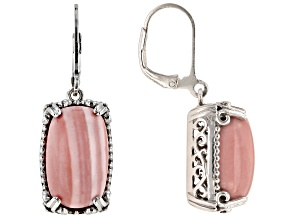 Pre-Owned Pink mookaite rhodium over sterling silver dangle earrings