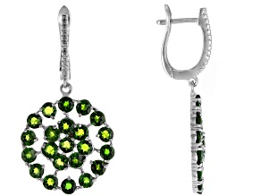 Pre-Owned Green Russian Chrome Diopside Rhodium Over Silver Earrings 5.54ctw