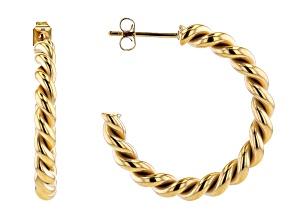 Pre-Owned Yellow Tone Stainless Steel Hoop Earrings