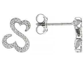 Pre-Owned White Diamond Rhodium Over Sterling Silver Drop Earrings