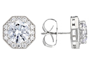 Pre-Owned White Cubic Zirconia Rhodium Over Sterling Silver Earrings 6.99ctw