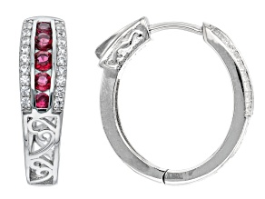 Pre-Owned Red Spinel & White Zircon Rhodium over Silver Earrings 1.12ctw