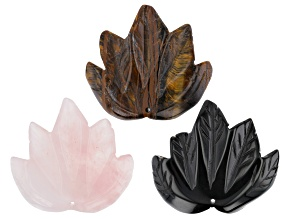Pre-Owned Tiger Iron, Rose Quartz & Black Agate Large Focal Carved appx 50x45mm Maple Leaf Bead