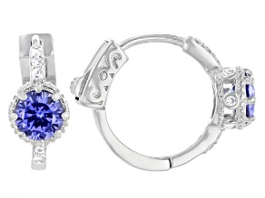 Pre-Owned Blue And White Cubic Zirconia Rhodium Over Sterling Silver Earrings 2.39ctw