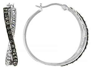 Pre-Owned Black And White Swarovski Crystal Rhodium Over Sterling Silver Hoop Earrings