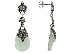 Pre-Owned Green Jadeite Sterling Silver Earrings .73ctw