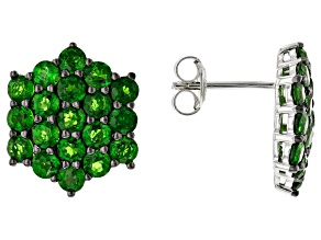 Pre-Owned Green Chrome Diopside Rhodium Over Sterling Silver Earrings 4.00ctw