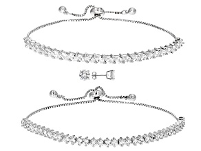 Pre-Owned White Cubic Zirconia Rhodium Over Sterling Silver Bracelets And Earrings 16.32ctw