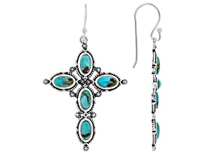 Pre-Owned Turquoise Rhodium Over Silver Cross Dangle Earrings